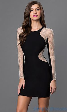 bcc7e398b91 Silver Stud Embellished Short Black Dress with Long Sleeves Hollywood Dress