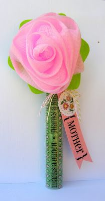 @Jan Tatomir created this gift TUBE for Mother's Day using a scrub flower as decoration and SRM Mother's Day stickers as embellishments.