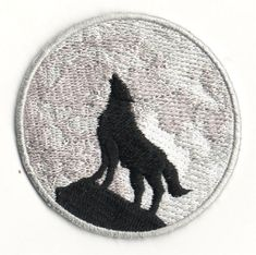 """Wolf - Full Moon -  Howling Wolf - Embroidered Iron On Patch 2 1/2"""" (6.4cm)"""