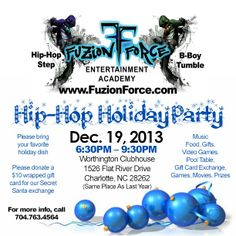 Hip-Hop Holiday Party at Fuzion Force! Gift Card Exchange, Pool Games, Hip Hop Dance, Holiday Parties, Flyers, Entertainment, Party, Instagram, Gift Card Swap
