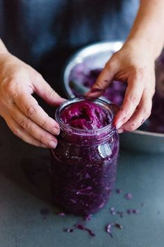 Purple cabbage and fennel seed sauerkraut Purple Cabbage, Seasonal Food, Fennel Seeds, Sauerkraut, Vegan Sweets, Real Food Recipes, Homemade, Eat, School