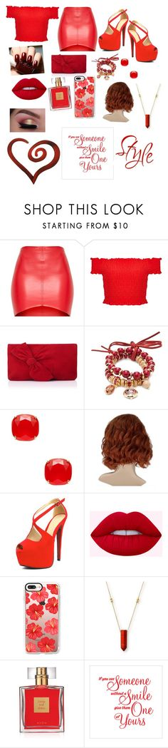 """""""The girl in red"""" by mebanks05 on Polyvore featuring Miss Selfridge, L.K.Bennett, Accessory PLAYS, Kate Spade, Casetify, Alex and Ani, Avon and Letter2Word"""