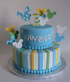 Baby Mickey First Birthday Cake — Children's Birthday Cakes One Year Birthday Cake, Festa Mickey Baby, Baby 1st Birthday Cake, Mickey And Minnie Cake, Mickey Mouse Birthday Cake, Mickey Mouse First Birthday, Mickey Cakes, Cool Birthday Cakes, Birthday Boys