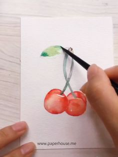 Watercolor Cherry Paintings Specifications Color: 36 30 days no-hassle money-back guarantee. Watercolor Beginner, Watercolor Video, Watercolour Tutorials, Painting & Drawing, Watercolor Paintings, Watercolor Drawing, Watercolor Illustration, Art Sketches, Art Drawings