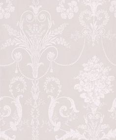 Josette White/Dove Grey - Laura Ashley Wallpapers - An ornate and elegant damask, featuring glamorous chandeliers and romantic rose bouquets in the stylish combination of white and dove grey. Please request a sample for true colour match. Living Room Wallpaper Cream, Bedroom Wallpaper Laura Ashley, White Wallpaper, Ashley Bedroom, Grey Victorian Wallpaper, Laura Ashley Josette Wallpaper, Gray Bedroom, Bedroom Decor, Bedroom Ideas