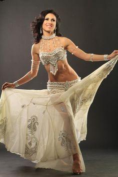 White bellydance costume - interesting halter/decorative straps from collar to bra