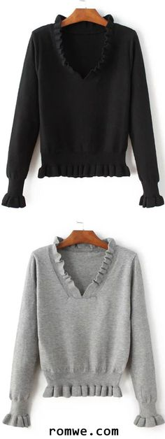 Ruffle V Neck Peplum Sweater