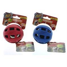2 Nerf 4 Rubber Retriever Tennis Balls Floating Dog Toys Red & Blue