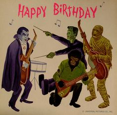 Have a Happy Birthday Monster Zero.enjoy your special day dazzle > vintage halloween birthday cards Happy Birthday Vintage, Happy Birthday Quotes, Happy Birthday Images, Happy Birthday Greetings, Birthday Pictures, Birthday Messages, Happy Birthday Artist, Halloween Birthday, Birthday Fun