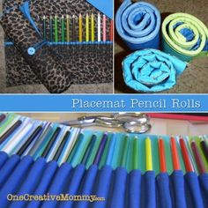 tutorial for pencil rolls recycled from placemats.