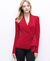 Merino Wool Wrap Sweater - Wrap star: indulgently designed in extrafine merino wool, this flattering wrap style flaunts a woven bow for an utterly pretty cinch. Crossover V-neck with inside button closure. Long sleeves. Self tie waist.