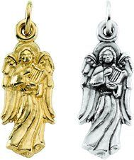 Amazon.com: 14K Yellow or White Gold Angel Pendant 16mm x 6mm (Yellow or White Gold): Jewelry