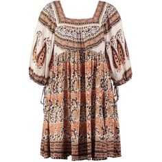 Free People Summer dress ivory combo (13.430 RUB) ❤ liked on Polyvore featuring dresses, multicoloured, winter white dress, multi-color dress, sleeve dress, short backless dresses en pattern dress