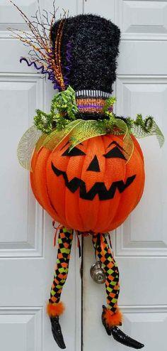 Pumpkin Wreath-Halloween Wreath-Halloween by StudioWhimsybyBabs