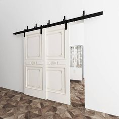 *Pictures above show Bypass Door (One door on the front track, another one on the back track) 10FT track hardware set* EXCEPTIONAL MATERIAL- Our products are made with premium steel. They are fire proof, water proof and rust proof. High quality steel assures durability and grantee