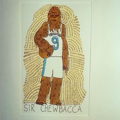 I wonder if Serge Ibaka is as psyched about the upcoming Star Wars movie as i am. @Mr_avecclasse #Hassebostrosby #NBA #sergeibaka #OKC #thunder #chewbacca #starwars #forceawakens #basketball #instaart