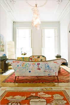 John Derian sofa  Graffiti by homeowner's daughter (so cool and so personal)  via NYT Homes section July 10, 2008  Home of former Kate Spade partner Pamela Bell