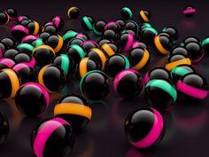 3D Black Balls Lights - 3D Digital Art Wallpaper