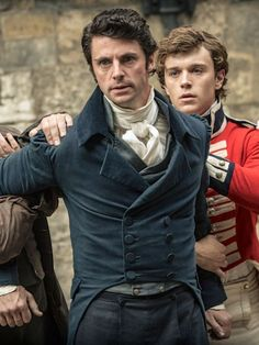 """'After Wickham was released from irons, the colonel hauled him by his collar into a room. """"I haven't had anything to drink all day,"""" croaked Wickham.' This pic - Matthew Goode as George Wickham in Death Comes to Pemberley (TV Mini-Series, Period Costumes, Movie Costumes, Laura Berlin, Jane Austen Movies, Prime Movies, A Discovery Of Witches, Good Movies To Watch, Empire, About Time Movie"""