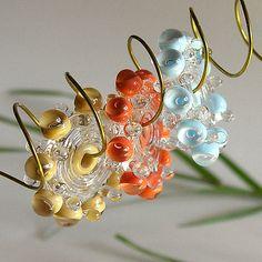 Las cuentas de cristal de murano multicolor, envío libre, los granos de burbujas hechas a mano set en el cielo azul, coral y crema - Rachelcartglass