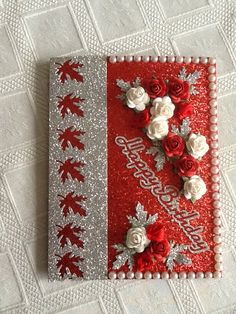 Background is a red glitter card silver panel is leftover from A4 glitter sheet,roses from dusty attic
