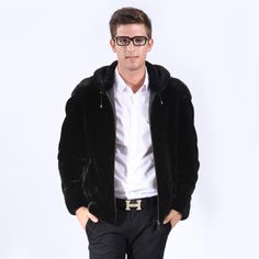 LTMB 2014 autumn and winter the trend of fashion luxury mink fur male mink hooded leather coat $1,699.00