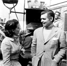 """Vivien Leigh and Clark Gable on the set of """"Gone With The Wind"""" (1939)"""