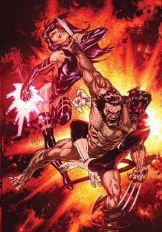 Wolverine vs. Psylocke and Nightcrawler by Adam Kubert