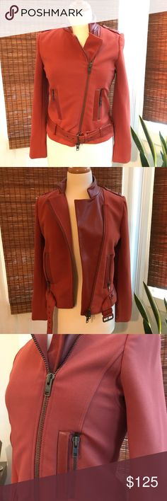 Rachel Zoe Burnt Orange Motorcycle Jacket Gorgeous Rachel Zoe motorcycle jacket, perfect for fall! Main fabric is a thick polyester spandex with Lamb leather details. Bronze metal accents. Worn 2-3 times. Rachel Zoe Jackets & Coats