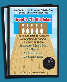 Bowling Invitation Printable  Boy's AllStar by ThatPartyChick, $15.00