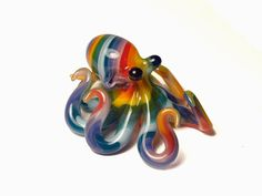 Rainbow Striped Octopus Pendant. $33.00, via Etsy.