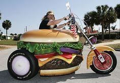 Hamburger Harry has created the custom Harley of his dreams. The dream … a hamburger motorcycle. Unlike other custom Harley trikes this one is fashioned to look like an e… Hamburgers, Weird Cars, Cool Cars, Strange Cars, Crazy Cars, Car Humor, Car Jokes, Cool Bikes, Art Cars
