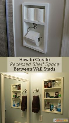 Recessed shelving between studs is a quick and relatively easy way to add more storage space to any room in your home. Simply find where your wall studs are, cut a hole and install the shelf. #DiaryofaDIYer http://www.diaryofadiyer.com/content/how-to-create-shelves-between-wall-studs