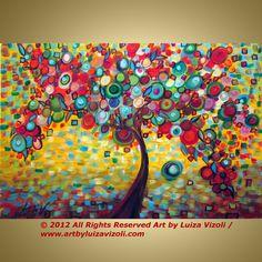 SUMMER JOY Large Print on Gallery Canvas Whimsical Tree Landscape  ready to hang by Luiza Vizoli 36x24. $149.00, via Etsy.