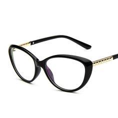 Chashma Women Cat Eyes Black Glasses Stylish Eyewear Eyeglasses Myopia  Spectacle Small Frame for Female Armações 05be280f0a