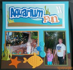 handmade scrapbook page:  Aquarium  Love these kits:  www.outonalimbscrapbooking.com