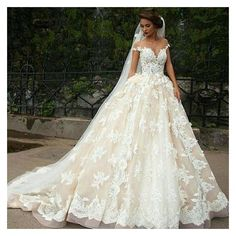Vintage 2016 Cinderella Ball Gown Wedding Dresses Sheer Jewel Neck... ❤ liked on Polyvore featuring dresses and wedding dresses