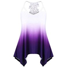 b1f25a3c9de587 Sikye Women Activewear Floral Tees Lace Stitching Ombre Tank Tops  Sleeveless Blouse (Purple 2, L)