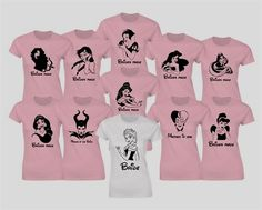 *PREFERABLY NOT IN PINK* Customized Hen party Disney princesses inspired t-shirts. Princesses and text will be made from black glitter. by iganiDesign on Etsy Disney Shirts, Disney Hen Party Ideas, Disney Bachelorette Parties, Bachelorette Outfits, Disney Bridal Showers, Party Shirts, Party Fashion, Shirts For Girls, Disney Princesses