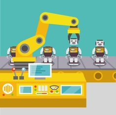 Robotic arm assemble line mechanic manufacturing factory robot operator production concept flat vector illustration
