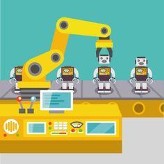 Robotic arm assemble line mechanic manufacturing factory robot operator production concept flat vector illustration
