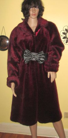 Red Fur Coat.  Red FAux Fur Coat.  Red Velvet by MISSVINTAGE5000