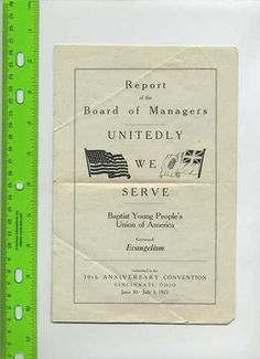 Baptist Young People's Union of America 1921 Convention Report Evangelism RARE | eBay