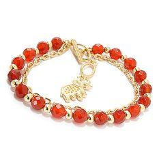 146-690 - Antalia™ Turkish Jewelry 18K Gold Embraced™ Gem Adjustable Toggle Bracelet