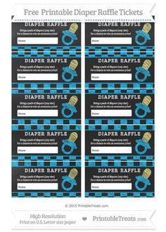 Free Deep Sky Blue Checker Pattern  Chalk Style Baby Pacifier Diaper Raffle Tickets