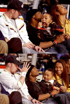 Justin Timberlake, Usher, And Chilli. hehe, Justin and Usher's kid are making funny faces