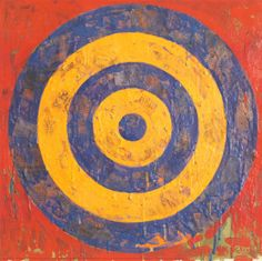 """Jasper Johns, Target, 1974. Elevating commonplace objects to the status of fine art, breakout artist Jasper Johns created a series of flag and target images that stunned the art world. Originally a commercial artist, Johns questioned and reinvented the premises of painting, and has explored screen-printing, photo reproductions, neon, metal, """"cross-hatch"""" patterning, three-dimensional objects and literal renderings of items such as planks and faucets."""