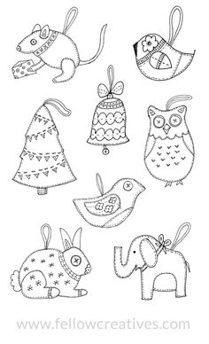 fellowcreative-ornaments - these are felt crafts, but the patterns could just as easily be used as stitcheries! :)