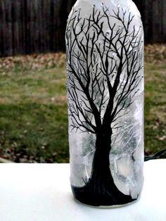 Pintado a mano de luz noche botella de vino botella de vino