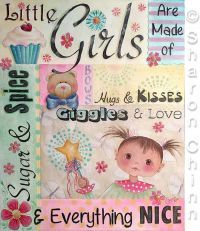 Little Girls Are Made of… Video Tutorial and ePattern Drawings To Trace, Online Painting Classes, Print Format, Learn To Paint, Painting Patterns, Paint Designs, Painting Inspiration, Little Girls, Collage